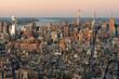 Golden Light Aerial View Of Manhattan Skyline