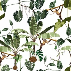 Panel Szklany Liście Seamless pattern with monstera and banana tree with liana and leaves and green Chameleon. Illustration on white background.