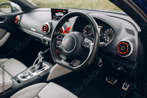 Foto Car dashboard and interior with right hand drive