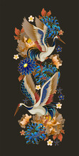 Compositions With Mandarin Ducks, Flowers And Cranes. Vector.