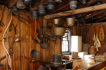 Pots And Other Utensils In A Circa 1850 Pioneer Village General Store