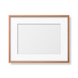 Vector 3d Realistic Horizontal Brown Wooden Simple Modern Frame Icon Closeup Isolated on White Background. It can be used for presentations. Design Template for Mockup, Front View
