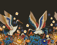Border With Mandarin Ducks, Flowers And Cranes. Vector.
