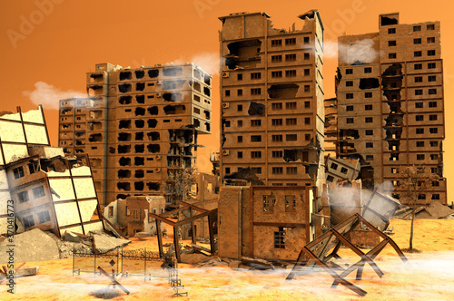 Papel de parede Debris, war zone with soldiers, buildings, bombings, terrorism