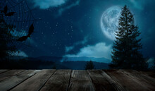 Wooden Surface And Night Sky W...