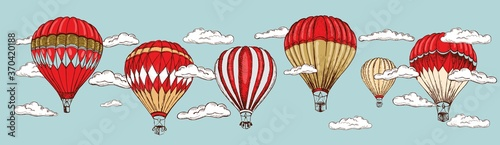 Photo Hot air balloons flying. Hand drawn illustration