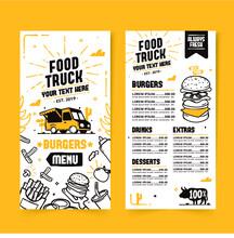Hand Drawn Food Truck Menu Tem...