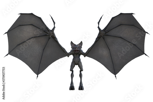 Fototapeta Mythical Bat Monster with large wings, 3d render.
