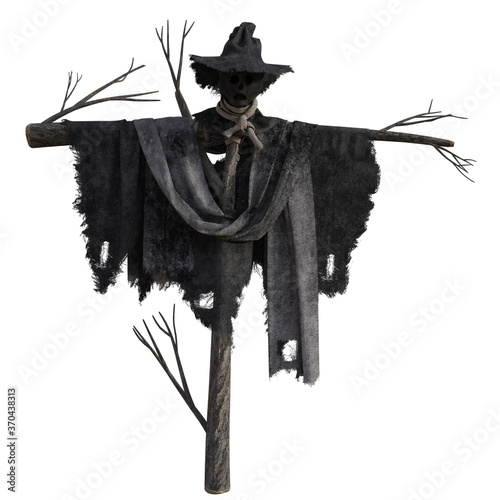 Fotografiet Tall scary scarecrow isolated on white, 3d render.