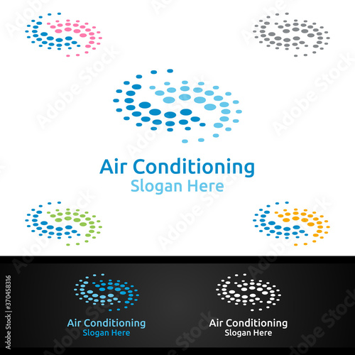 Air Conditioning and Heating Services Logo Canvas Print