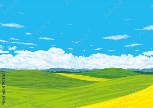 爽やかな青空と広大な丘陵の風景 Canvas-taulu