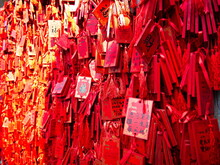 Red Lucky Charms Hanging In Confucius Temple In Longmen Grottoes World Heritage Site Near Luoyang City, Henan Province, China, 14th October 2018.