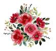 red green flower garden watercolor arrangement