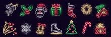 Set Of Neon Cristmas Icons Isolated On Dark Brick Wall Background.   Gift Box, Christmas Tree, Santa, Angel, Snowflake, Stocking, Candy-cane. Xmas, Winter, New Year Concept. Vector 10 EPS Illustration