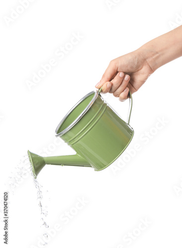 Obraz na płótnie Hand with watering can on white background