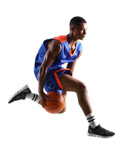 Jumping African-American Basketball Player On White Background