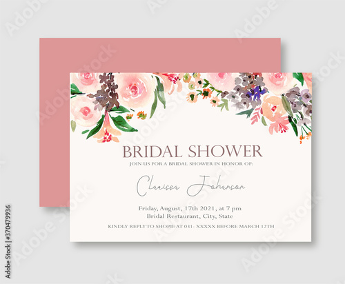 Fotomural Pink Rose Floral Bridal Shower Invitation