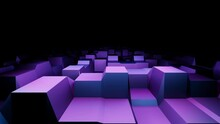 3d Purple Block Surface Fly. Techno Cyberspace From Squared Shapes. 4k Looping Animation With Alpha Channel.