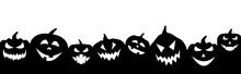 Black Halloween Pumpkins On Wh...
