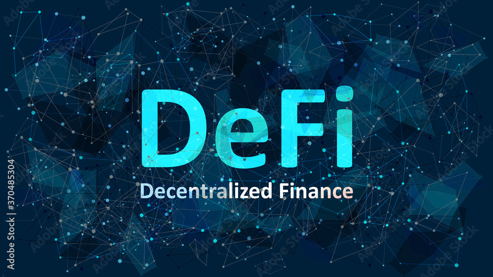 Fototapeta Text Defi - decentralized finance on dark blue abstract polygonal background. An ecosystem of financial applications and services based on public blockchains. Vector EPS 10.