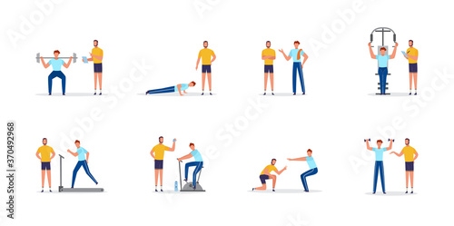 Fototapeta Personal coach or trainer and client, flat vector illustrations set isolated. obraz