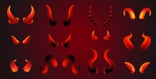 Realistic Red Devil Horn Pair Set In Different Shapes And Sizes