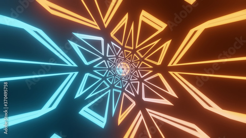 Cuadros en Lienzo Illustration graphic of 3d rendering abstract energy tunnel in space