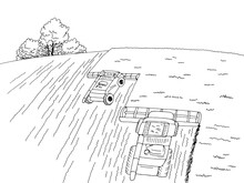 Harvester Harvesting Wheat From The Field Graphic Black White Landscape Top Aerial View Sketch Illustration Vector