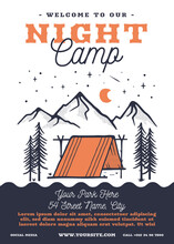 Summer Night Festival Camp Flyer A4 Format. Tent Life Adventure Poster Graphic Design With Forest Scene And Text. Stock Vector Retro Card