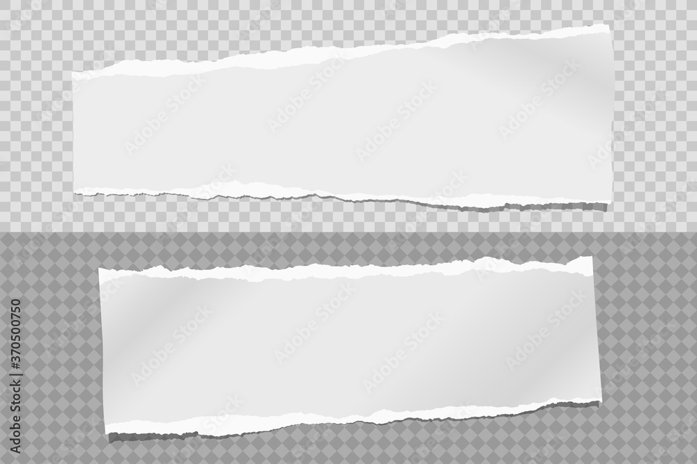 Fototapeta Strips of torn, ripped grey and white paper with soft shadow are on squared background for text. Vector illustration