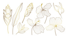 Luxury Gold Tropical Collection With Exotic Flowers And Leaves. Vector Design Isolated Elements On The White Background.