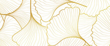 Luxury Gold Ginkgo Line Arts B...
