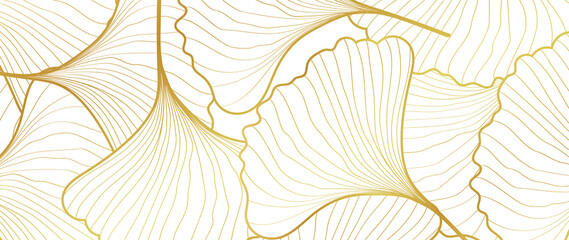 Luxury Gold Ginkgo line arts Background design vector.
