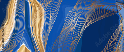 Obraz Luxury Gold marble design withe nature line arts pattern background vector. - fototapety do salonu