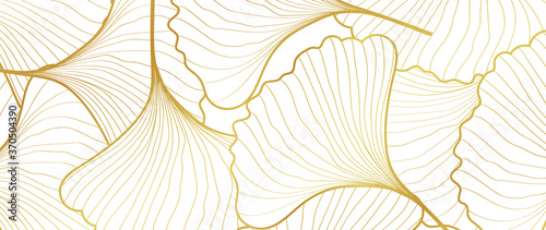 Luxury Gold Ginkgo line arts Background design vector. Fototapete