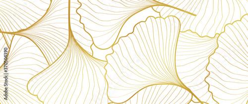 Luxury Gold Ginkgo line arts Background design vector. Canvas Print