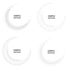 Halftone Dots In Circle Form. Circular Music Equalizer . Audio Waves . Sound Frequency . Round Logo . Vector Dotted Frame . Design Element