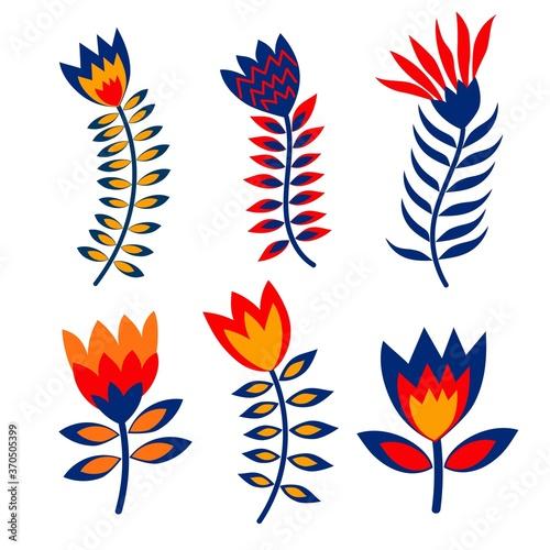 Fotografiet Set of vector flowers in folk style