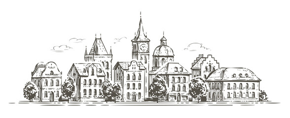 City view with historic buildings. Town sketch vector illustration