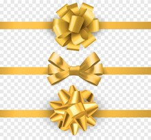 Gold Gift Bows With Ribbons. Realistic Horizontal Silk Yellow Ribbon With Decorative Bow, Festive Elements Decor, Gift Satin Luxury Tape Vector Isolated Set