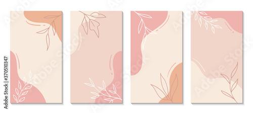 Fototapeta Stories templates for social media. Vector abstract shapes vertical backgrounds. Minimal floral backdrops obraz