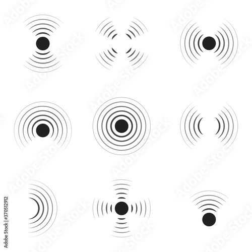 Wave sonar. Radar with signal. Icon of pulse. Concentric sound circle. High sonic frequency with vibration in air. Noise and energy from speaker. Symbol of radio, military protection and scan. Vector