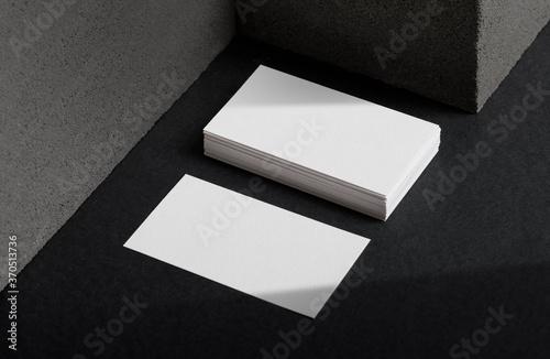 Obraz Minimal business card mockup with concrete block - fototapety do salonu