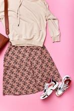Casual Outfit: Printed Skirt And Shirt Flat Lay. Fashiobable Stylish Look For Everyday. Clothes Set, Accessory, Fashion, Style Concept