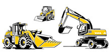Vector Illustrations Of Construction Equipment. Bulldozer, Excavator, Compact Baggier. Icon Style, Flat Two Colors Illustrations.