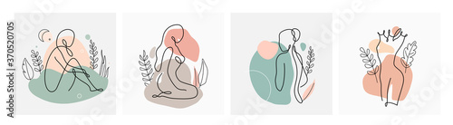 Abstract line woman vector background set in continuous linear art. Fashion templates with female postures, plants, leaves, color texture elements in modern simple outline style. Beauty girl layouts