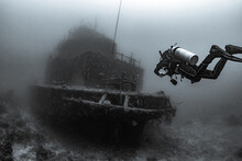 Scuba Diver Underwater With Sh...