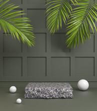 Black Granite Stone Podium Wit...