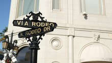 World Famous Rodeo Drive Symbol, Cross Street Sign, Intersection In Beverly Hills. Touristic Los Angeles, California, USA. Rich Wealthy Life Consumerism, Luxury Brands And High-class Stores Concept.
