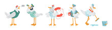 Vector Sailor Seagulls Characters.